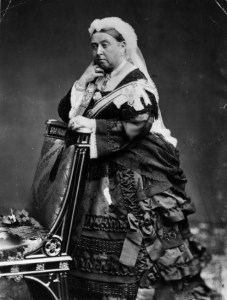 Queen Victoria in full mourning dress.
